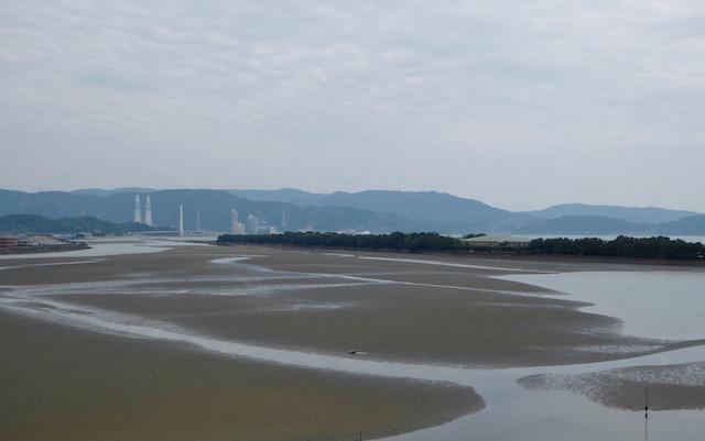 和歌浦の妹背山頂上から片男波の砂嘴を眺める