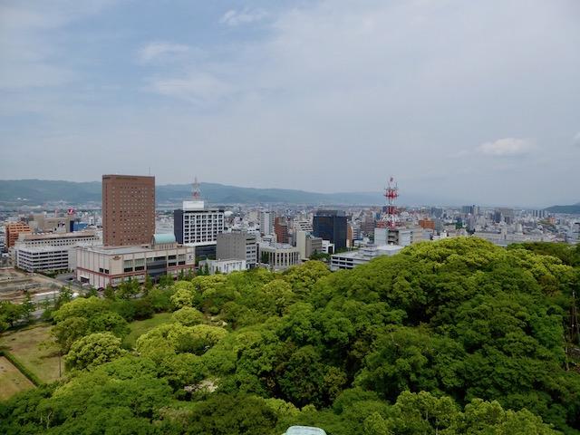 和歌山城の東の山が途切れている間を紀の川が流れてきています