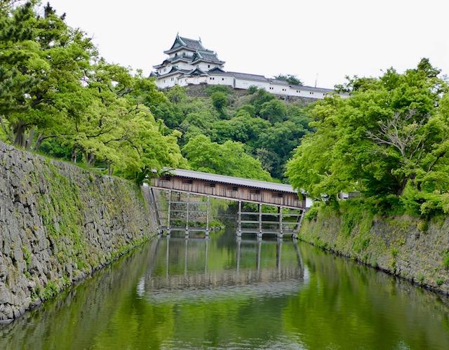 御橋廊下越しに和歌山城が見えます