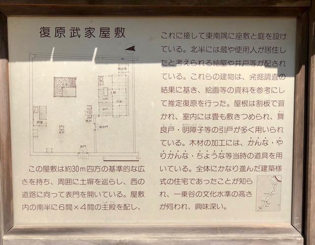 一乗谷朝倉氏遺跡の復原町並の復原武家屋敷の説明