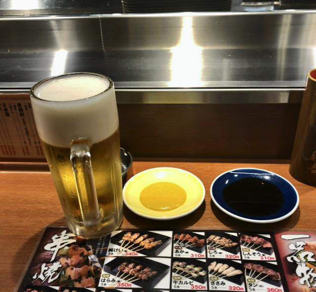 やきとりの名門秋吉でビール