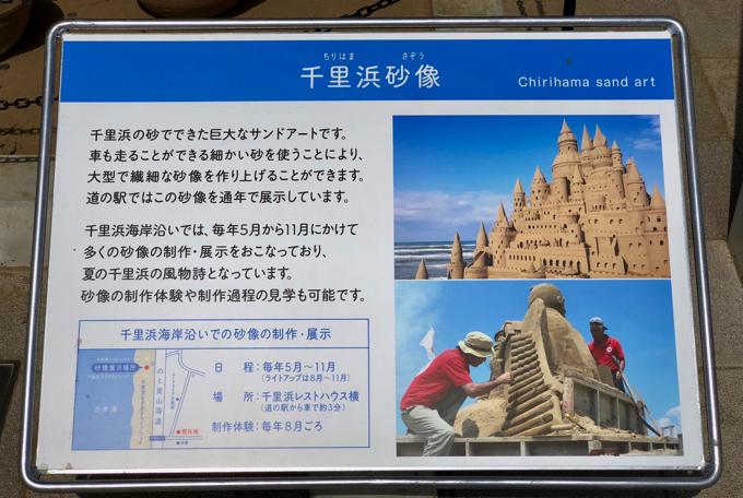 道の駅のと千里浜の砂像の案内板