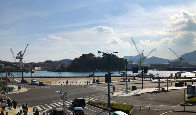 尾道駅から見る尾道水道
